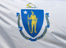Massachusetts State Flag. A close-up of the Massachusetts state flag waving in the wind Royalty Free Stock Image