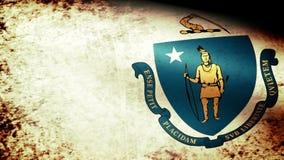 Massachusetts State Flag Waving, grunge look stock video