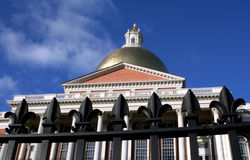 Massachusetts State House. Fence and State House in Boston Royalty Free Stock Photography