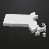 Massachusetts State map in gray on a black background 3d Royalty Free Stock Image