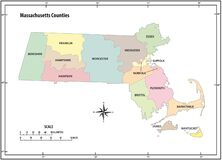 Free Massachusetts State Outline Administrative And Political Vector Map In Color Stock Photo - 181411910