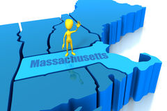 Massachusetts state outline with yellow stick figu Royalty Free Stock Photos