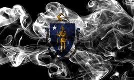 Massachusetts state smoke flag, United States Of America. On a black background stock image