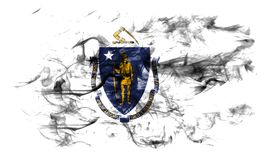 Massachusetts state smoke flag, United States Of America. On a white background stock photography