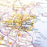 Massachusetts Travel Map Stock Images