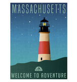 Massachusetts, United States travel poster or luggage sticker. Scenic illustration of a lighthouse on Nantucket Island at night with starry sky Royalty Free Stock Photography