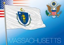 Massacusetts federal state flag, United States. Massachusetts federal state flag, United States, vector illustration and us coat of arms Stock Image