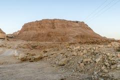 Massada古老堡垒的废墟在山的在死海附近在南以色列 免版税图库摄影