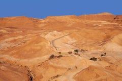 从Massada墙壁的日落视图  免版税库存图片