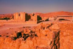 Massada fort after sunset Stock Images