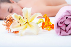 Massage. Young woman in a spa Stock Images