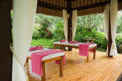Massage. Private area of the massage in tropical garden Stock Photography