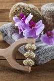 Massage accessories for spa treatment still-life with zen mindset Royalty Free Stock Photography