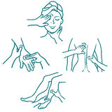 Massage as a medical procedure line set Stock Photos