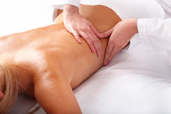 Massage of back. Spa beauty. Stock Photo