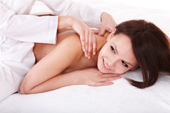 Massage of back. Spa beauty. Royalty Free Stock Photography