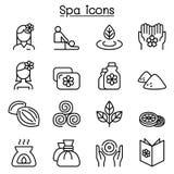 Massage, Badekurort u. Alternativtherapieikone stellten in dünne Linie Art ein Lizenzfreie Stockfotos