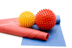 Massage ball with gymnastics tape Stock Image