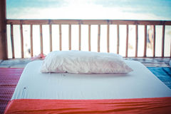 Massage bed by the beach Stock Image