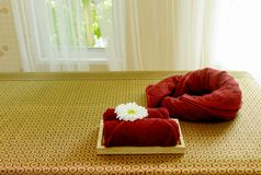 Massage bed in massage room Royalty Free Stock Photography