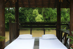 Massage bed outdoor. Massage bed set out door Stock Image