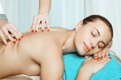 Massage and body care. Spa body massage woman hands treatment royalty free stock image