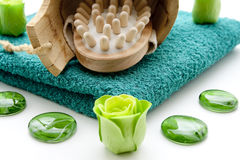 Massage brush and flower Royalty Free Stock Photography