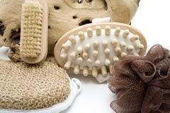 Massage brush and sponge with nailbrush Stock Image