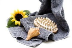 Massage brush on terry cloth towel Stock Image