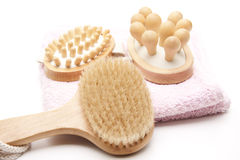 Massage brush and towel Royalty Free Stock Image