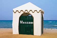 Massage cabana. Private massage cabana for relaxation on the beach in front of calm blue sea. Red Sea in Taba Stock Image