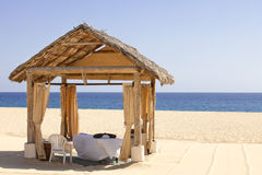 Massage Cabana on a secluded beach Royalty Free Stock Photography