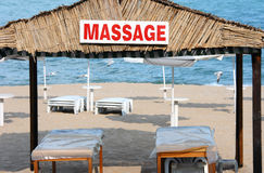 Massage center. On the beach Royalty Free Stock Photography