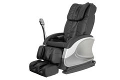 Massage Chair. Black leather comfortable reclining massage chair. With Shiatsu, Tapping and Kneading therapeutic massages stock photos