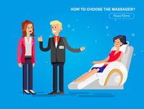 Massage chair Vector detailed. Vector detailed character seller man sells massage chair. Woman buy massager and relax, cool flat  illustration Royalty Free Stock Image
