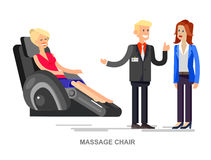 Massage chair Vector detailed. Vector detailed character seller man sells massage chair. Woman buy massager and relax, cool flat  illustration isolated on white Stock Images