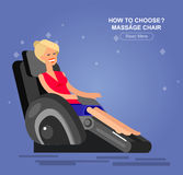 Massage chair Vector detailed. Vector detailed character Woman buy massager  and relax in massage chair, cool flat  illustration Stock Images
