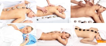 Massage chaud de pierres Photographie stock libre de droits