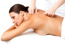 Massage. Close-up of a Beautiful Woman Getting Spa Treatment Stock Photo