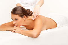 Massage. Close-up of a Beautiful woman Getting Spa Treatment Royalty Free Stock Photos
