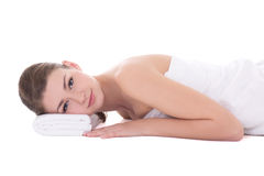 Massage concept - young beautiful woman lying isolated on white Stock Photography