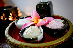 Massage  Cream spa. On the tray with pedestal Royalty Free Stock Photos