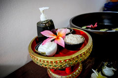 Massage  Cream spa. On the tray with pedestal Royalty Free Stock Image