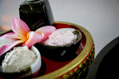 Massage  Cream spa. On the tray with pedestal Royalty Free Stock Images