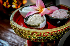 Massage  Cream spa. On the tray with pedestal Stock Images