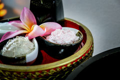 Massage  cream spa. On the tray with pedestal Royalty Free Stock Photography