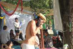Massage de Didgeridoo images libres de droits