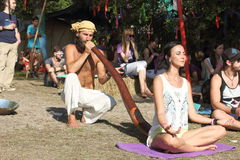 Massage de Didgeridoo photos libres de droits