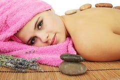 Massage de pierres Photos libres de droits