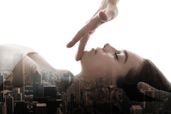 Massage energy penetrates to skin multiexposition royalty free stock image